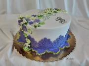 Torta Dezertík na 50 tku v bielo fialovom