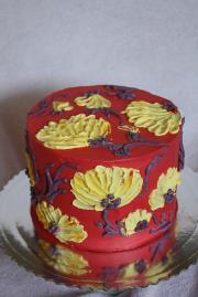 Torta Krémová torta s krémovými kvetmi