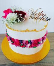Torta Zdobená krémovými kvetinami