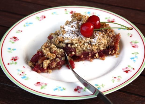 Čerešňový koláč s posypkou - crumble, recept s fotopostupom