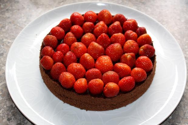 Čokoládovo jahodová torta bez múky - recept postup 6