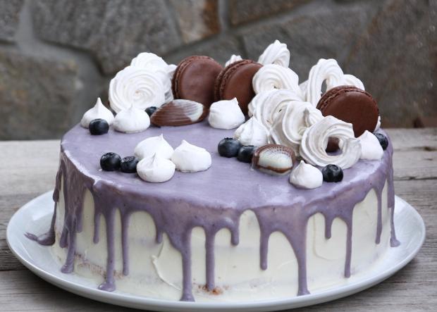 Čučoriedkova drip torta - recept postup 1