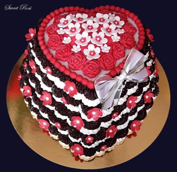 Penové srdce k Valentínovi torta, Netradičné torty, Sweet Rosi