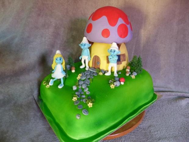 šmoulovia torta, rozprávkové  ...