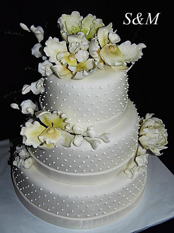 svadobná bodkovaná torta, Svadobné torty, silvia11