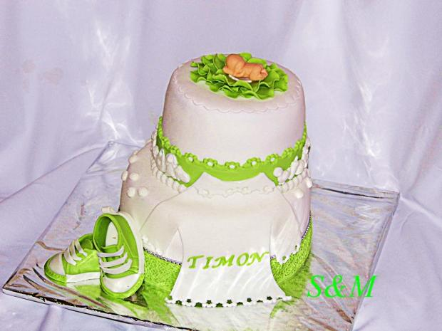 krstinová zelená  torta, Torty na krstiny, silvia11