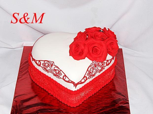 čipkové srdce  torta, Narodeninové torty, silvia11