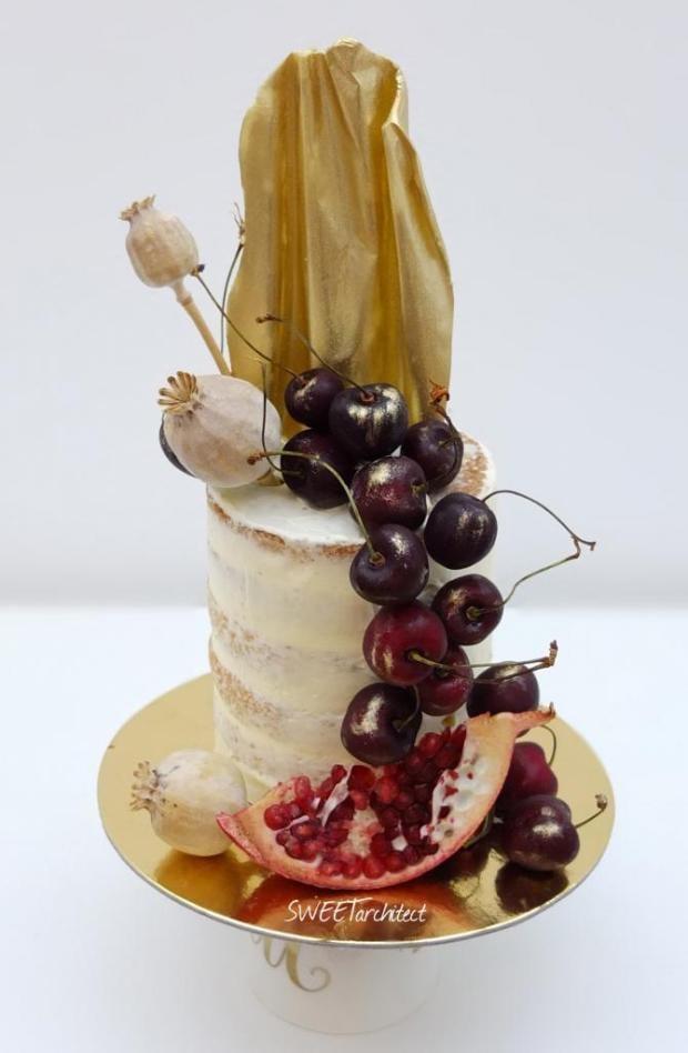 Narodeninová zo zlatým čoko plátom torta, Narodeninové torty, SWEETarchitect