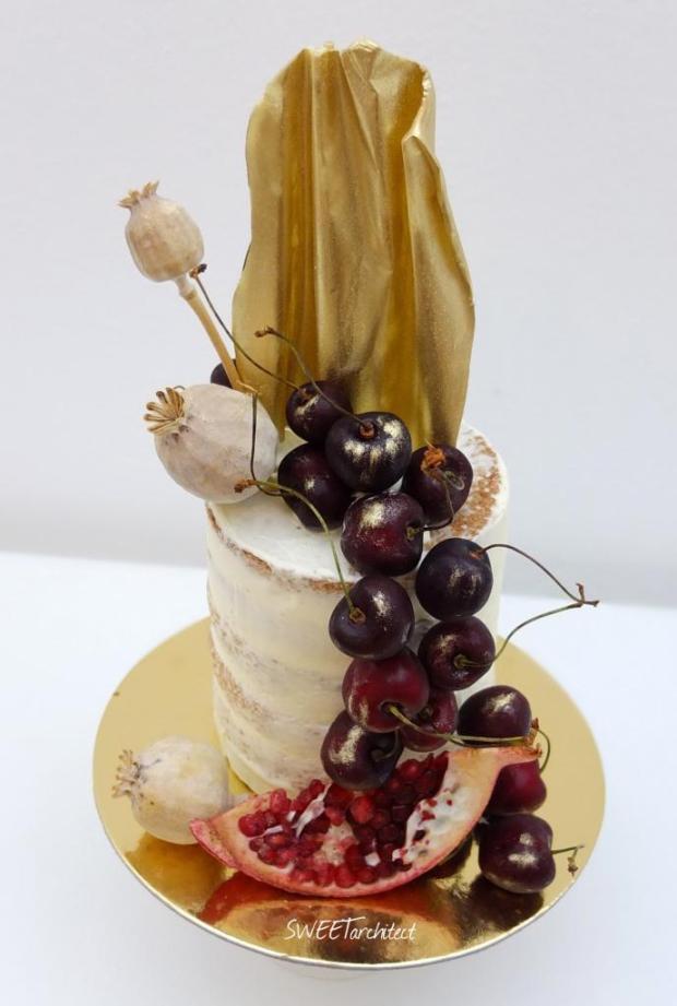 Narodeninová zo zlatým čoko plátom torta, Narodeninové torty, SWEETarchitect 3