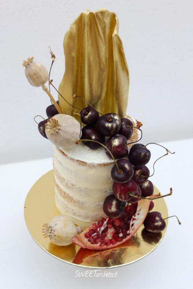 Narodeninová zo zlatým čoko plátom torta, Narodeninové torty, SWEETarchitect 4