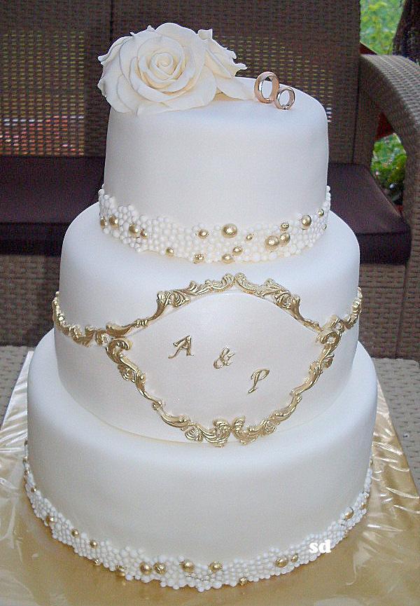 svadobná bielo zlata  torta, Svadobné torty, silvia11