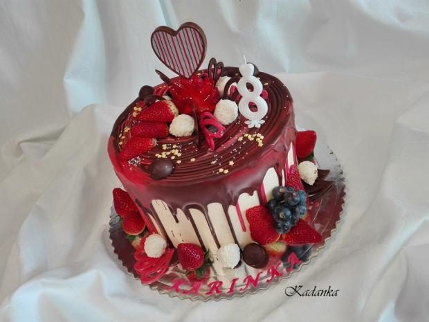 Drip torta s jahodami, Autor: Kadanka