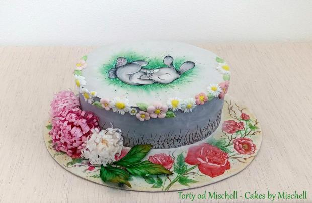 Jarná veľkonočná torta so zajkom