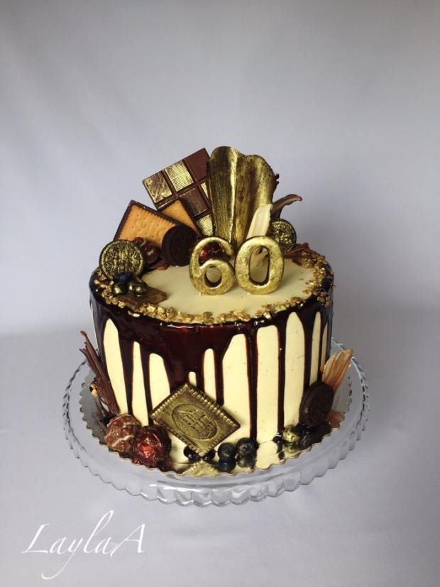 Drip tortička s čokoládovými sladkosťami v zlatom  torta, Drip torty, Andrea Layla Aldiry