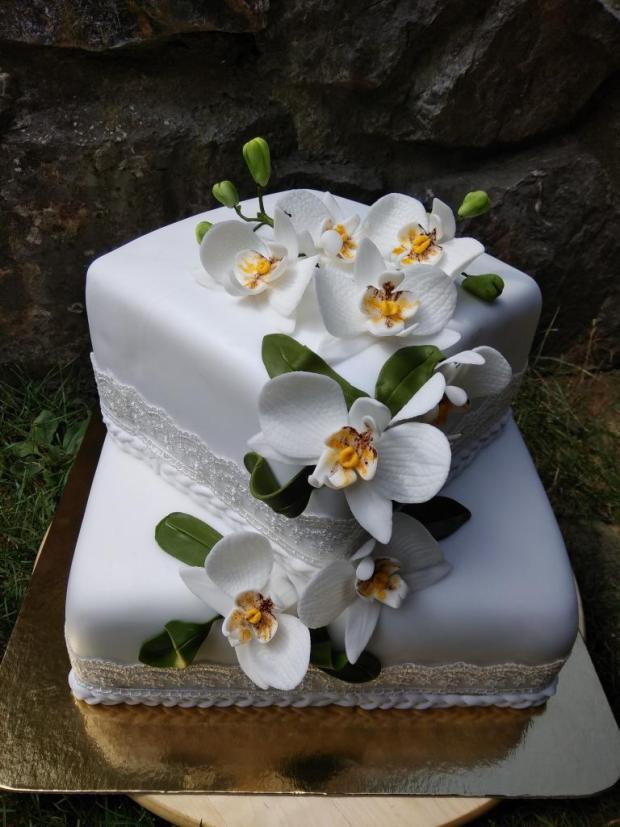 Svadobná s orchideami torta, Svadobné torty, tortovo