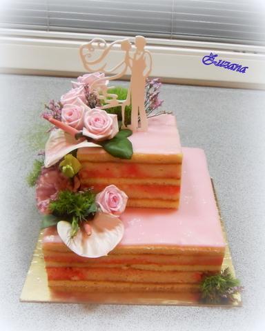 svadobná so živými kvetmi (podľa obrázku) torta, Svadobné torty, zana