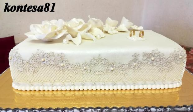 svadobna so striebornou cipkou torta, Svadobné torty, kontesa81