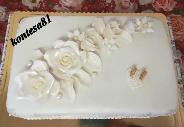 svadobna so striebornou cipkou torta, Svadobné torty, kontesa81 2