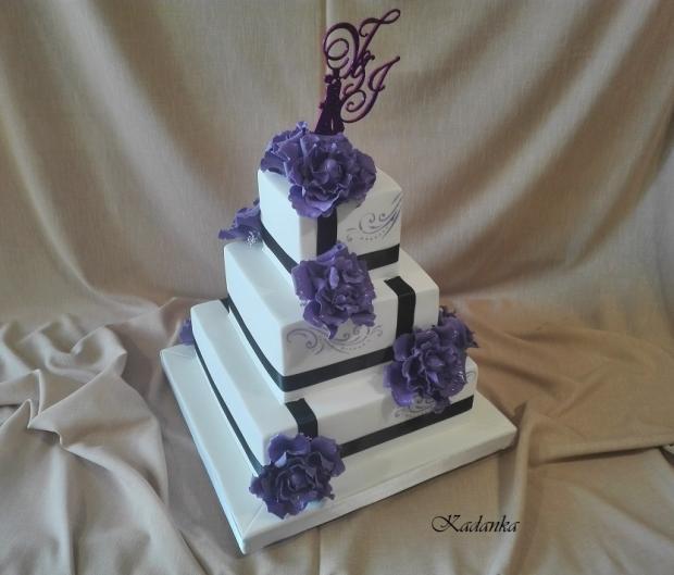 Svadobná v bielo fialovom... torta, Svadobné torty, Kadanka 2