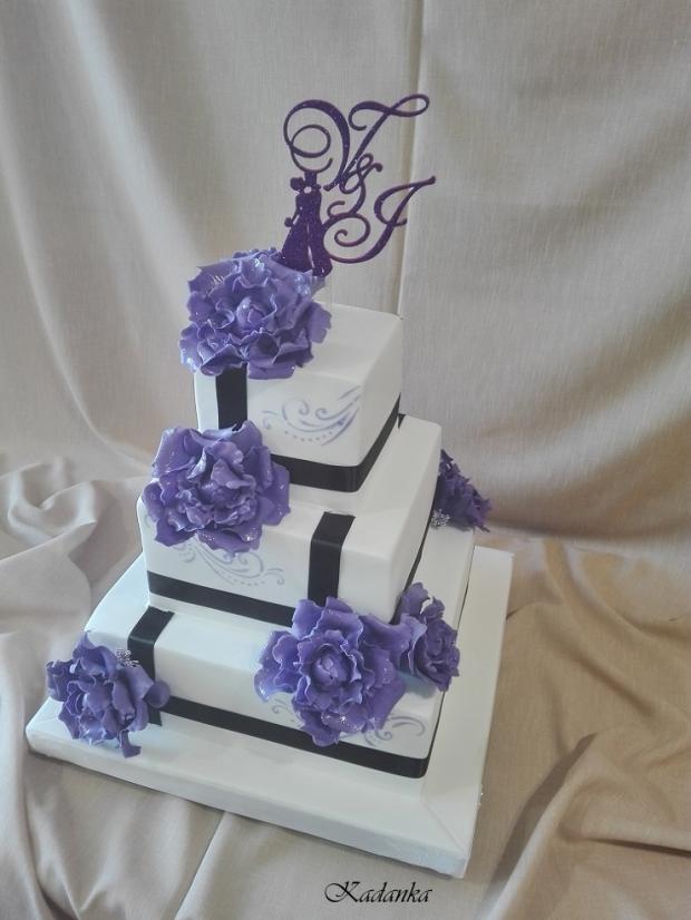 Svadobná v bielo fialovom... torta, Svadobné torty, Kadanka 3