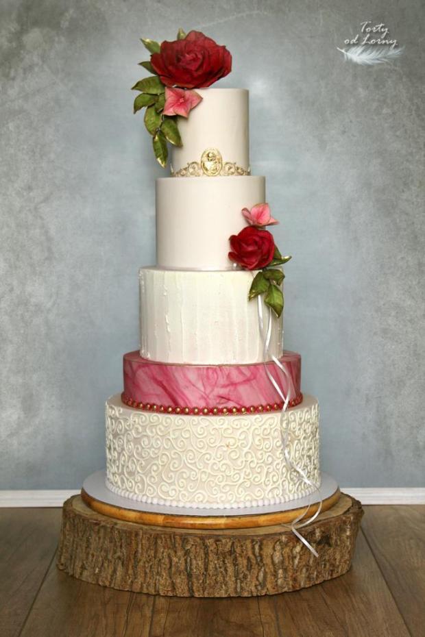 Svadobná elegantná torta, Svadobné torty, Lorna