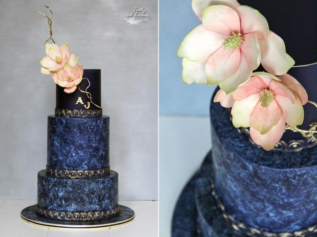 Svadobná torta v indigovo modrej farbe, Foam technika torta, Svadobné torty, Lorna