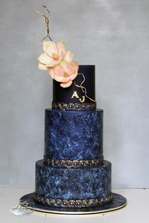 Svadobná torta v indigovo modrej farbe, Foam technika torta, Svadobné torty, Lorna 2