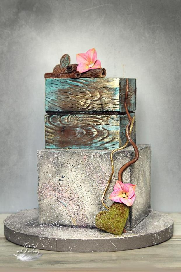 Efekt kameňa a dreva  torta, Narodeninové torty, Lorna 4