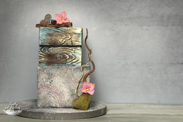 Efekt kameňa a dreva  torta, Narodeninové torty, Lorna
