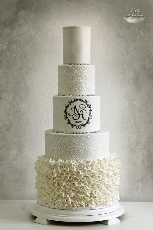 Svadobná torta elegantná s volánikmi torta, Svadobné torty, Lorna