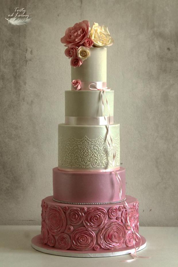 Svadobná torta romantická v ružovom torta, Svadobné torty, Lorna