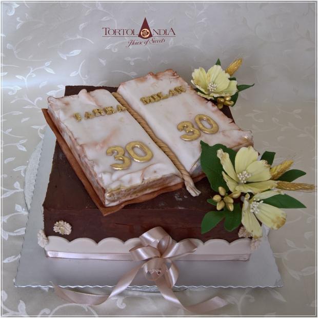Elegantná k 60tke s knihou torta, Čokoládové torty, Tortolandia.sk