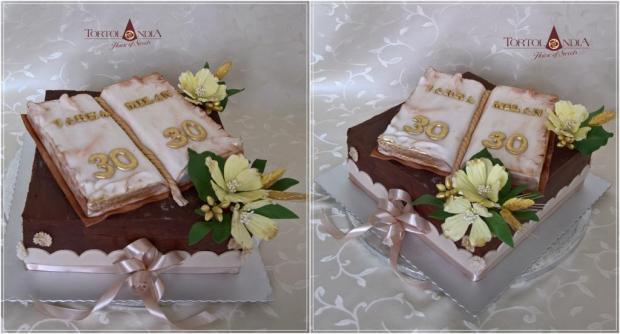 Elegantná k 60tke s knihou torta, Čokoládové torty, Tortolandia.sk 2