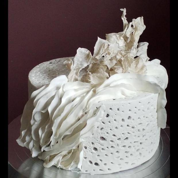 Biela inšpirovaná ryžovým porcelánom torta, Svadobné torty, Tasso