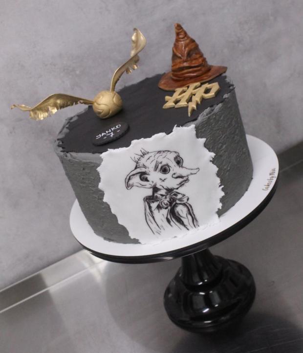 Harry Potter torta - ručne maľovaný Dobby torta, Rozprávkové torty, Cakes by Miša 3