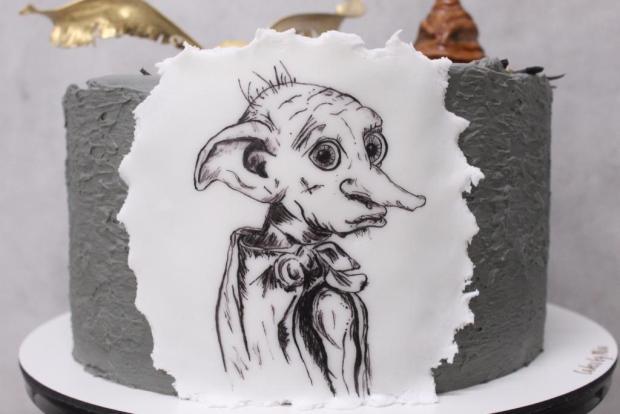 Harry Potter torta - ručne maľovaný Dobby torta, Rozprávkové torty, Cakes by Miša 2