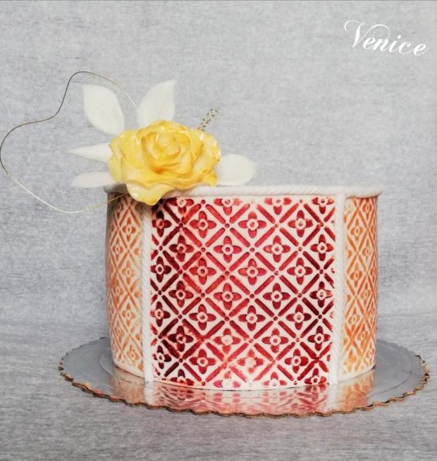 Zlato-červená  torta, Narodeninové torty, Venice