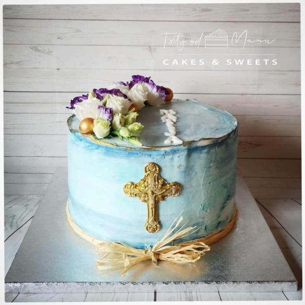 Jemná tortička na krst  torta, Torty na krstiny, Manu Sinoj