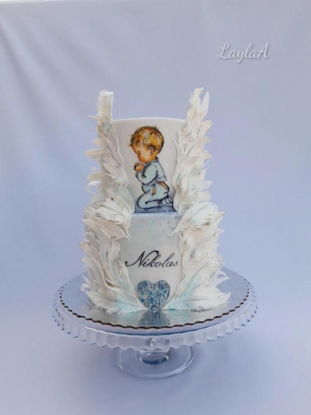 Krstinová s pierkami  torta, Torty na krstiny, Andrea Layla Aldiry