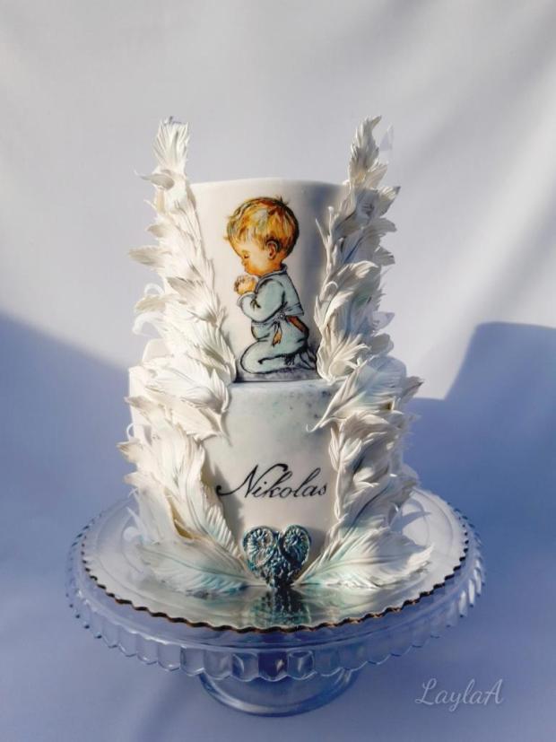 Krstinová s pierkami  torta, Torty na krstiny, Andrea Layla Aldiry 2