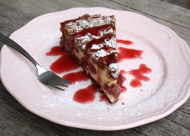 Kakaovo tvarohový koláč s višňami - recept postup 14