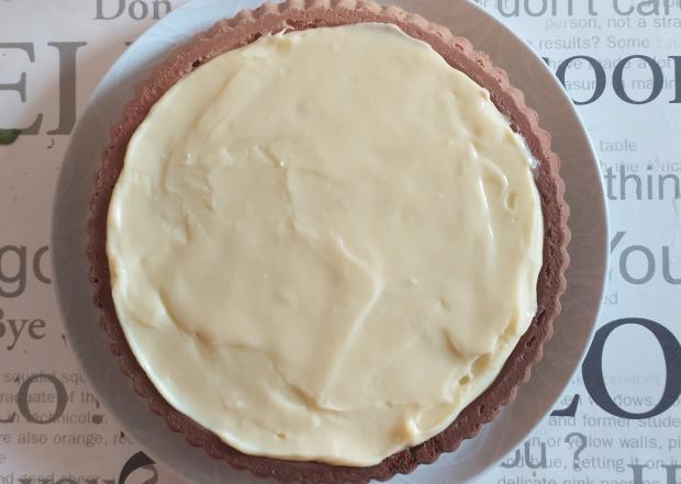 Malinový koláč s pudingom - recept postup 5