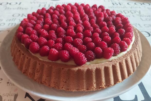 Malinový koláč s pudingom - recept postup 6