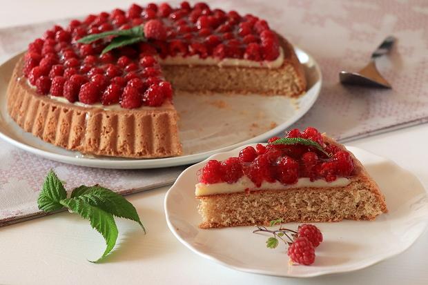 Malinový koláč s pudingom - recept postup 8