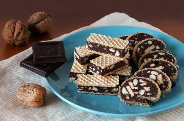 Čokoládovo - orechové rezy v oplátke - recept