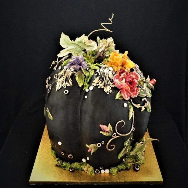 Postup na halloweensku narodeninovú tekvicu - foto postup