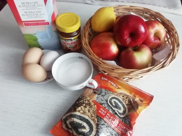 Makovo - jablkový zákusok s penou.  - recept postup 3