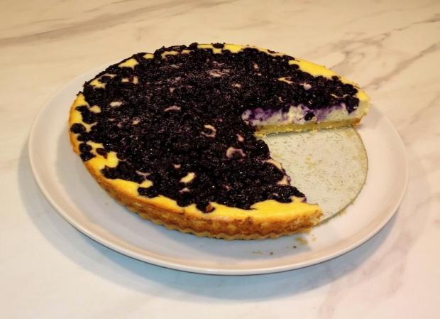 Linecký koláč s tvarohom a čučoriedkami - recept