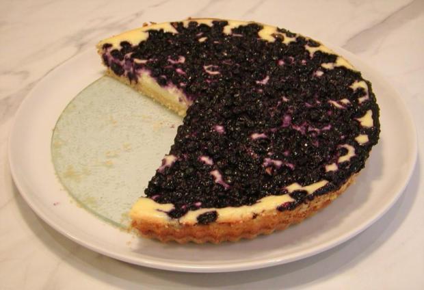 Linecký koláč s tvarohom a čučoriedkami - recept postup 1