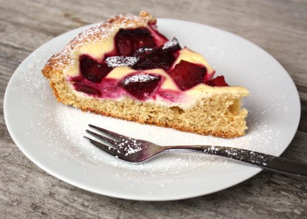 Slivkový koláč s tvarohom - recept postup 8